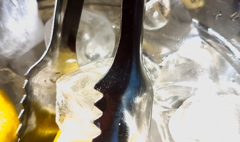 Using kitchen tongs in ice