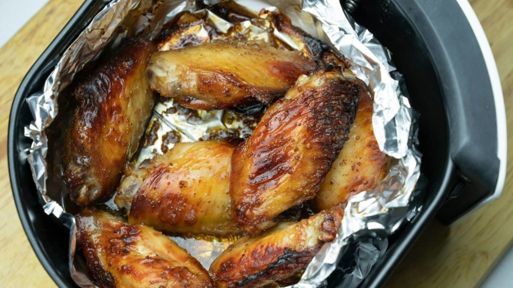 Chicken on Aluminum Foil in air fryer