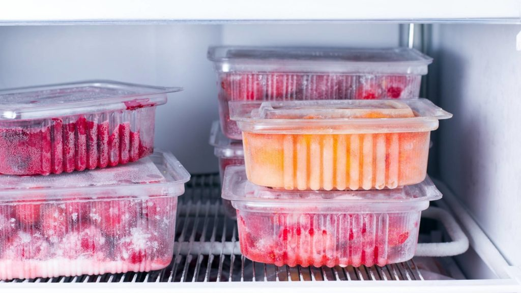 Frozen food in container